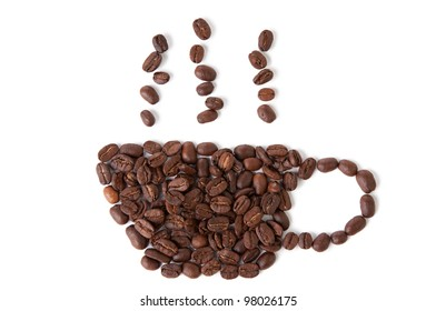 Symbol of coffee, isolated on white background