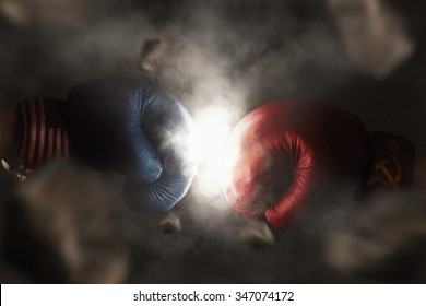Symbol of the Cold War between America and Russia symbolized with Boxing Gloves