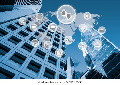 Symbol connected with icons of typical IoT modern lifestyle over modern office buildings in smart city in blue tone, internet of things Iot concept