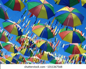 Symbol of the culture of Pernambuco, state of Brazil. Frevo, umbrella, music, dance, culture of Recife. Photographed in Porto de Galinhas beach, Pernambuco, Brazil.