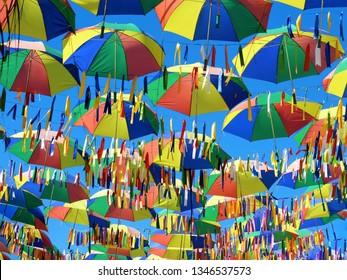 Symbol of the culture of Pernambuco, state of Brazil. Frevo, umbrella, music, dance, culture. Photographed in Porto de Galinhas, Pernambuco, Brazil.