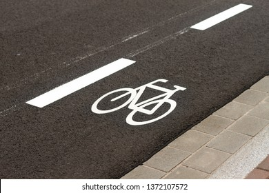 Symbol for a cycle lane on the road
