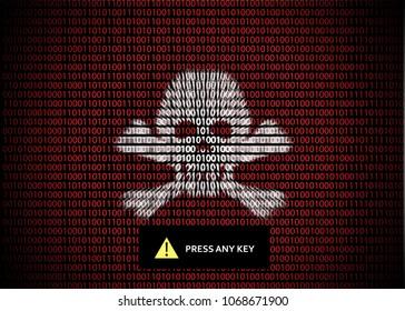 Symbol danger cyber skull and bones.