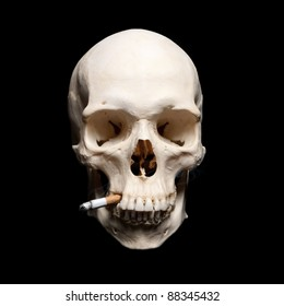 Symbol of the dangers of smoking. Human scull with cigarette