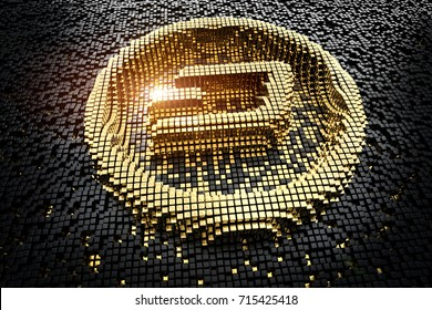 Symbol dash from golden small cubes, towering above the background of black small cubes. 3D rendering.