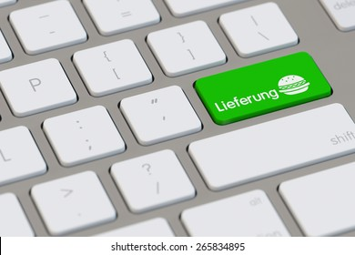 Symbol for delievery service for fast food on computer keyboard (3D Rendering)