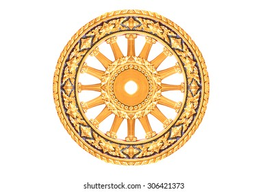 The Symbol of Dhamma, Wheel of life or Wheel of Dhamma (Dharmachakra) is one of the Ashtamangala that has represented the dharma, the Buddha's teaching of the path to Nirvana.