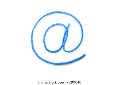 the symbol e-mail from a blue wool