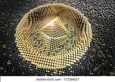 Symbol ethereum from golden small cubes, towering above the background of black small cubes. 3D rendering.