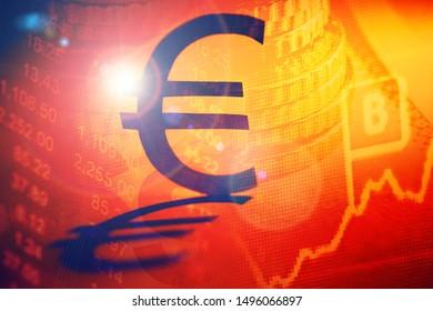 Symbol of euro money. Money concept. Selective focus.