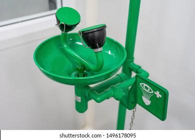 Symbol of Eye wash and Emergency eye washing unit for chemical accident