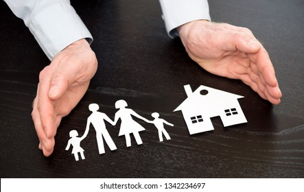 Symbol of family and house protection by hands of general agent