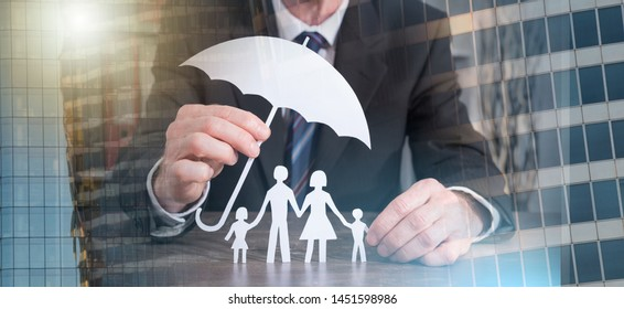 Symbol of family protection by a general agent; multiple exposure