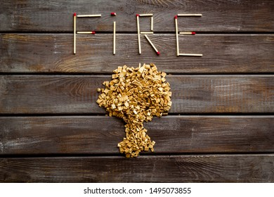 Symbol of fire in woods with tree from kindling and word fire from matches on wooden background top view