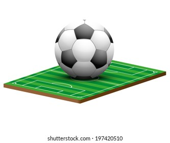 Symbol of a football or soccer game and field in three-dimensional space. Isolated on white background. Bitmap copy.