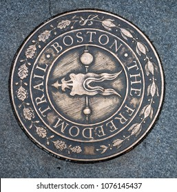 Symbol of The Freedom Trail in Boston, USA