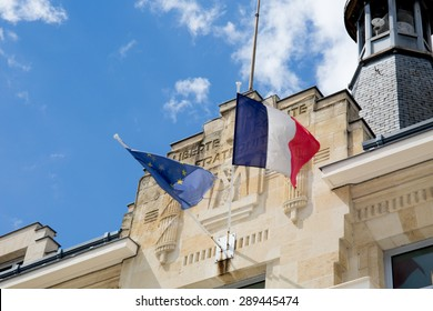 Symbol of the french republic under a building