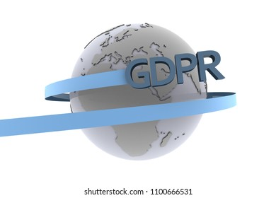 The symbol of the GDPR European Data Protection law swirling around the world as 3d rendering.