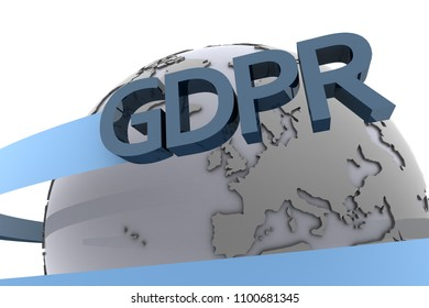 The symbol of the GDPR European Data Protection law swirling around the earth as 3d rendering.