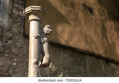 The symbol of Girona is the Lion, climbing the column. San Feliu Square (Pujada de Sant Feliu). Catalonia, Spain