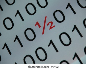 Symbol HALF (½) on a binary sequence, white background