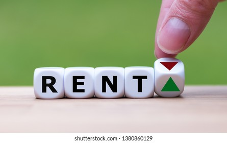 Symbol for increasing rent. Hand is turning a dice and changes the direction of an arrow symbolizing that rents are going up (or vice versa).