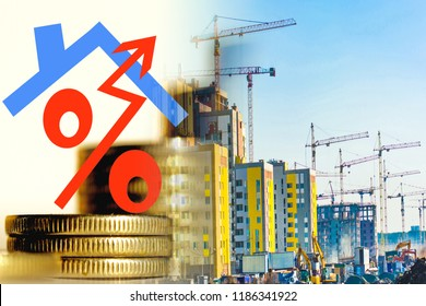 The symbol of interest on the background of the construction of a new residential area . The concept of increasing the growth of construction .