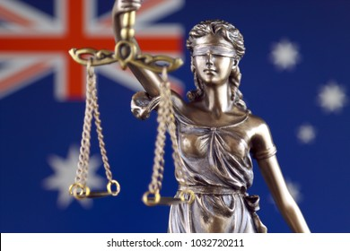 Symbol of law and justice with Australia Flag. Close up.