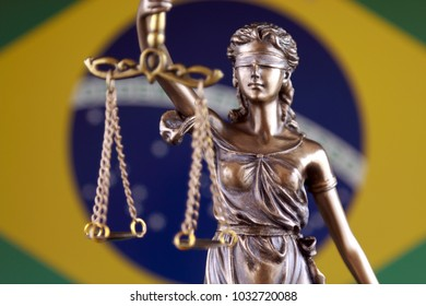 Symbol of law and justice with Brazil Flag. Close up.