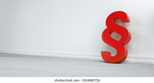 Symbol of Law and Justice - Paragraph / section sign on the floor in apartment - 3D Rendering