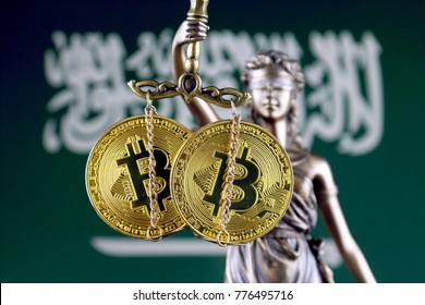 Symbol of law and justice, physical version of Bitcoin and Saudi Arabia Flag. Prohibition of cryptocurrencies, regulations, restrictions or security, protection, privacy.