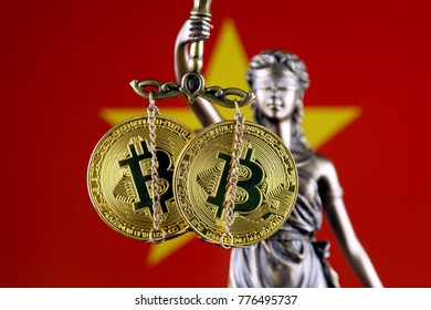 Symbol of law and justice, physical version of Bitcoin and Vietnam Flag. Prohibition of cryptocurrencies, regulations, restrictions or security, protection, privacy.