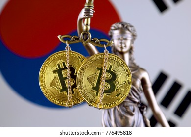 Symbol of law and justice, physical version of Bitcoin and South Korea Flag. Prohibition of cryptocurrencies, regulations, restrictions or security, protection, privacy.