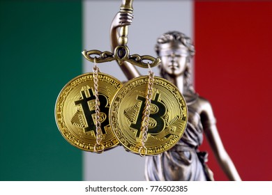 Symbol of law and justice, physical version of Bitcoin and Italy Flag. Prohibition of cryptocurrencies, regulations, restrictions or security, protection, privacy.
