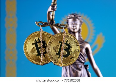 Symbol of law and justice, physical version of Bitcoin and Kazakhstan Flag. Prohibition of cryptocurrencies, regulations, restrictions or security, protection, privacy.