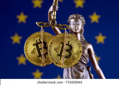 Symbol of law and justice, physical version of Bitcoin and European Union Flag. Prohibition of cryptocurrencies, regulations, restrictions or security, protection, privacy.