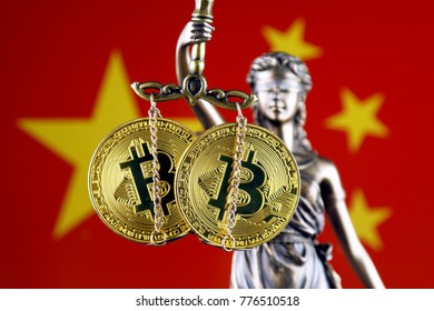 Symbol of law and justice, physical version of Bitcoin and China Flag. Prohibition of cryptocurrencies, regulations, restrictions or security, protection, privacy.