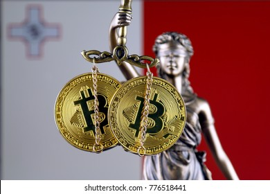 Symbol of law and justice, physical version of Bitcoin and Malta Flag. Prohibition of cryptocurrencies, regulations, restrictions or security, protection, privacy.