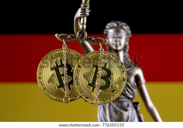 Symbol of law and justice, physical version of Bitcoin and Germany Flag. Prohibition of cryptocurrencies, regulations, restrictions or security, protection, privacy.