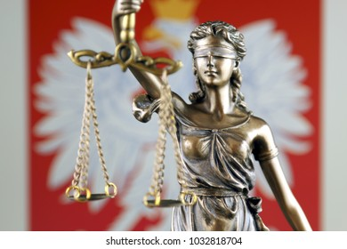 Symbol of law and justice with Poland Flag. Close up.