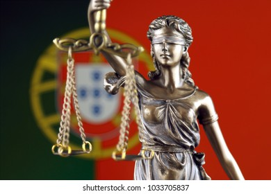 Symbol of law and justice with Portugal Flag. Close up.