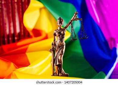 Symbol of law on lgbt rainbow flag. Lesbian and gay rights and equality