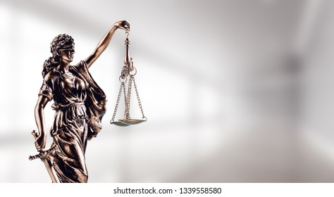 Symbol of law, Themis in modern hall. Justice and law in business. Legal system.