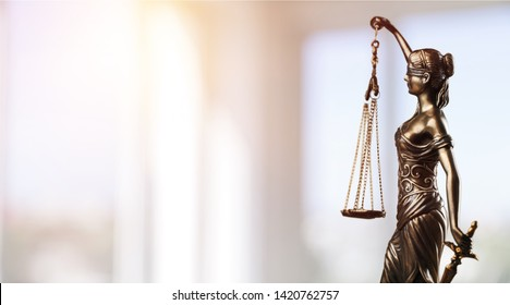 Symbol of law, Themis in modern hall. Justice and law in business. Legal system.          - Image