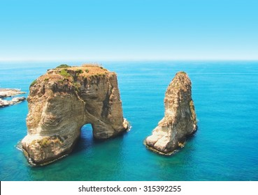Symbol of Lebanon capital Beirut - Pigeon Rocks,