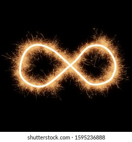 Symbol of lemniscate written by squib sparks on a black background.