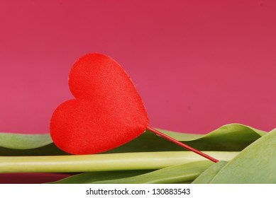 Symbol of love red heart on burgundy background