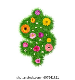 Symbol $ made of grass and colorful flowers, spring concept for graphic design collage