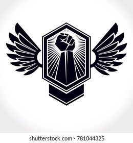 symbol made using raised arm of muscular male and eagle wings. Freedom for the personality can be used as tattoo.