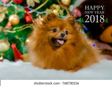 The symbol of the New 2018 - yellow dog. 2018 Happy New Year greeting card.